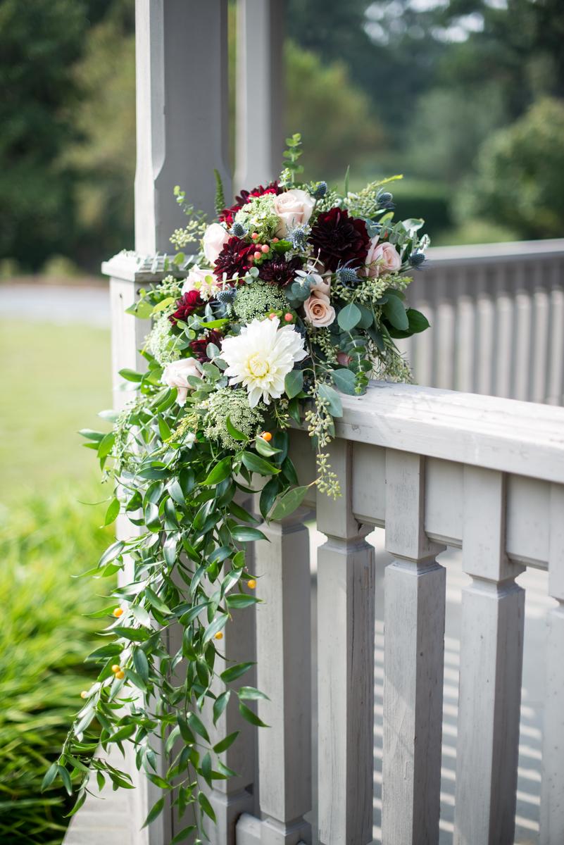 Blush and Burgundy Garden Wedding | Cascading Burgundy and Blush Bridal Bouquet