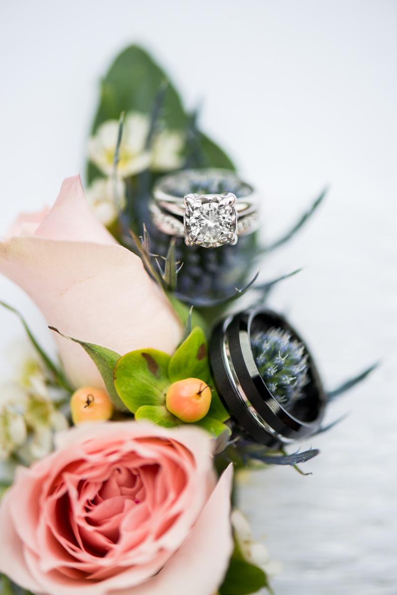 Blush and Burgundy Garden Wedding | Floral Wedding Ring Shot