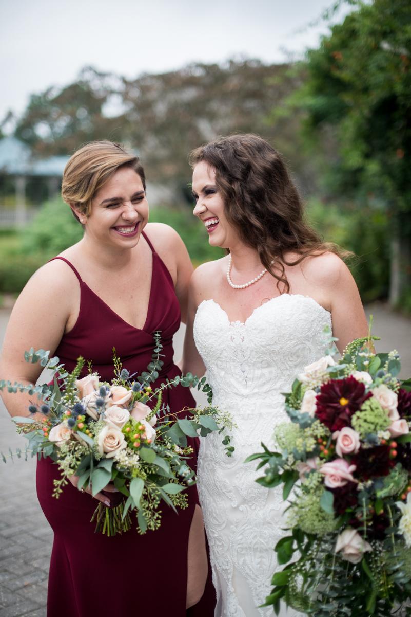 Blush and Burgundy Garden Wedding | Burgundy bridal party shot