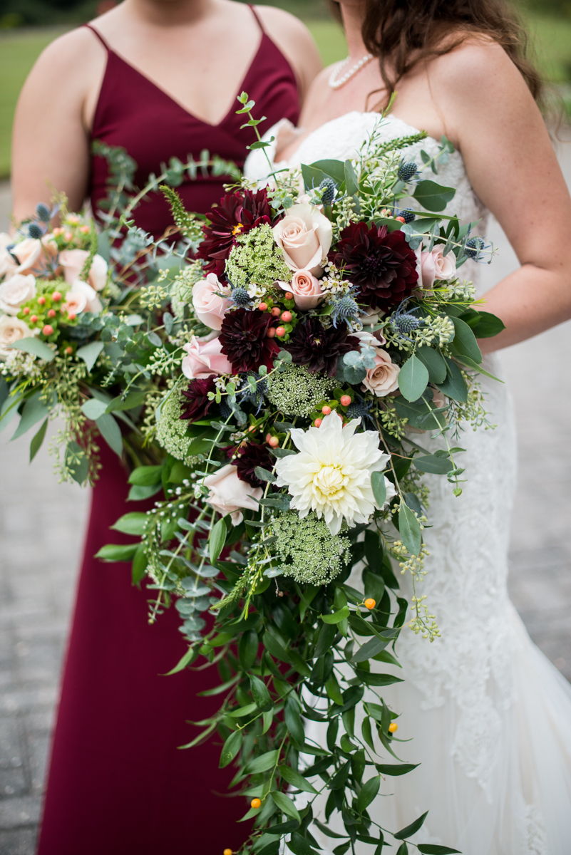 Blush and Burgundy Garden Wedding | Blush and burgundy cascading bouquets