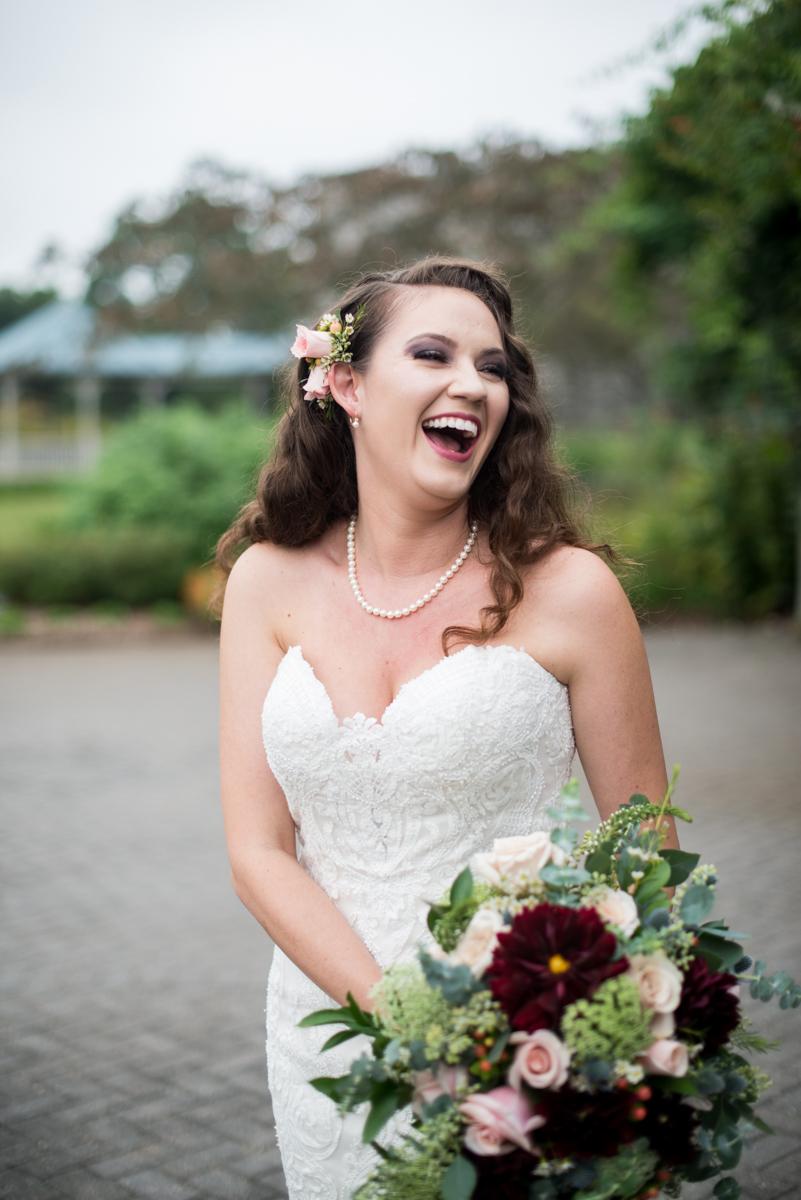 Blush and Burgundy Garden Wedding | Bridal portrait