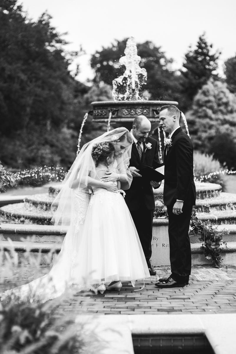 Blush and Burgundy Garden Wedding | Vows to daughter during wedding