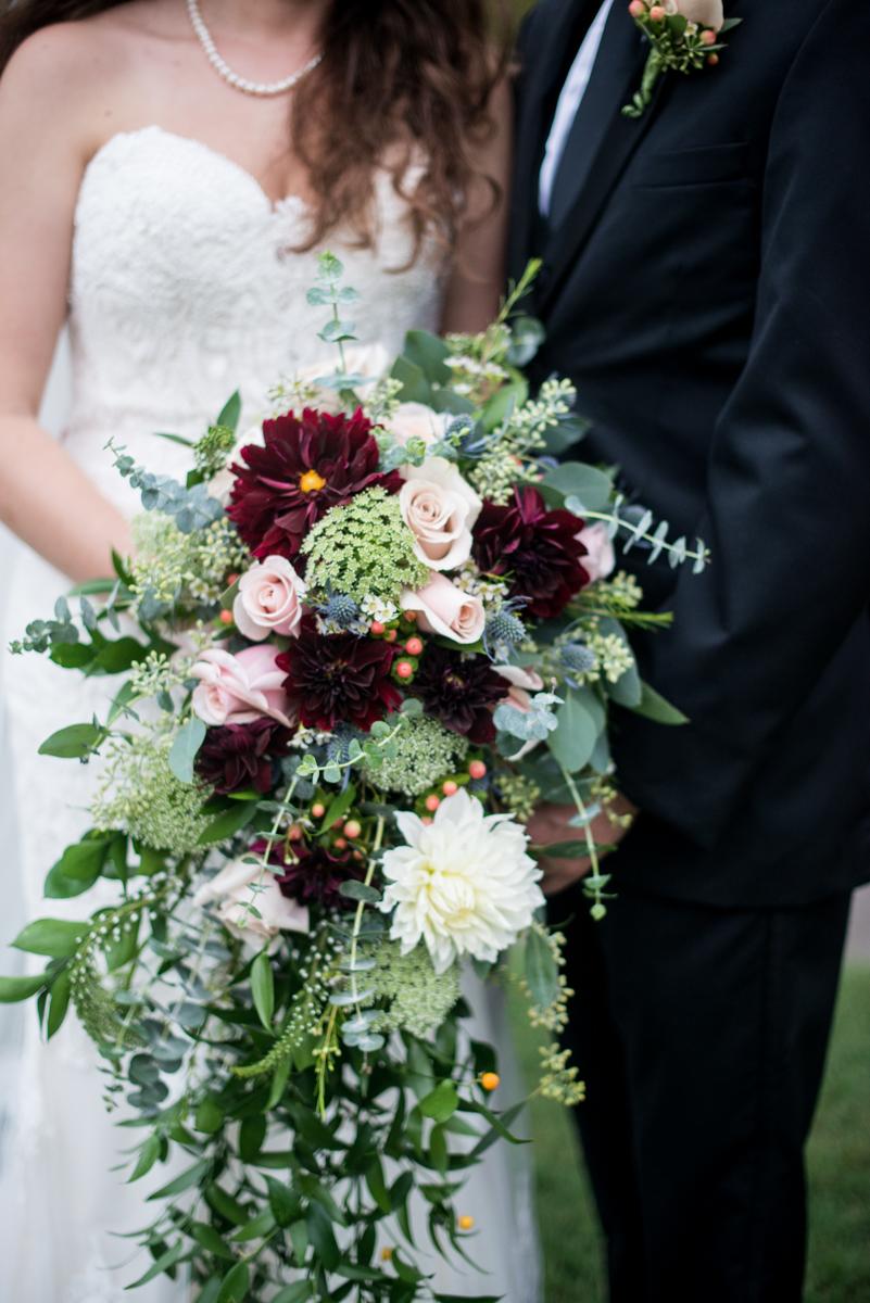 Blush and Burgundy Garden Wedding | Blush and burgundy cascading greenery bouquet