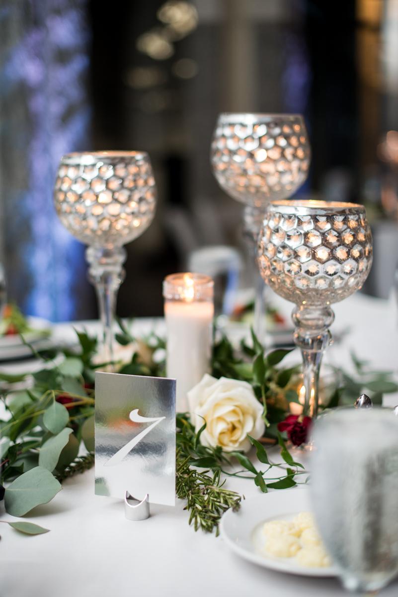 Blush and Burgundy Garden Wedding | Elegant evening reception centerpiece