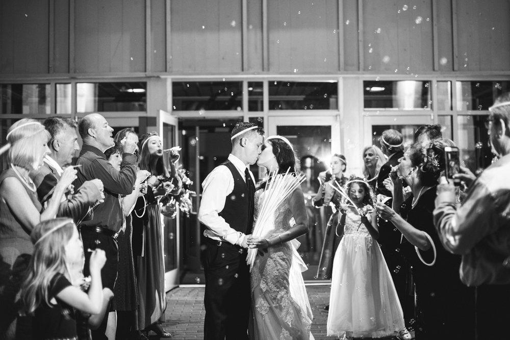Blush and Burgundy Garden Wedding | Glowstick and bubble wedding sendoff