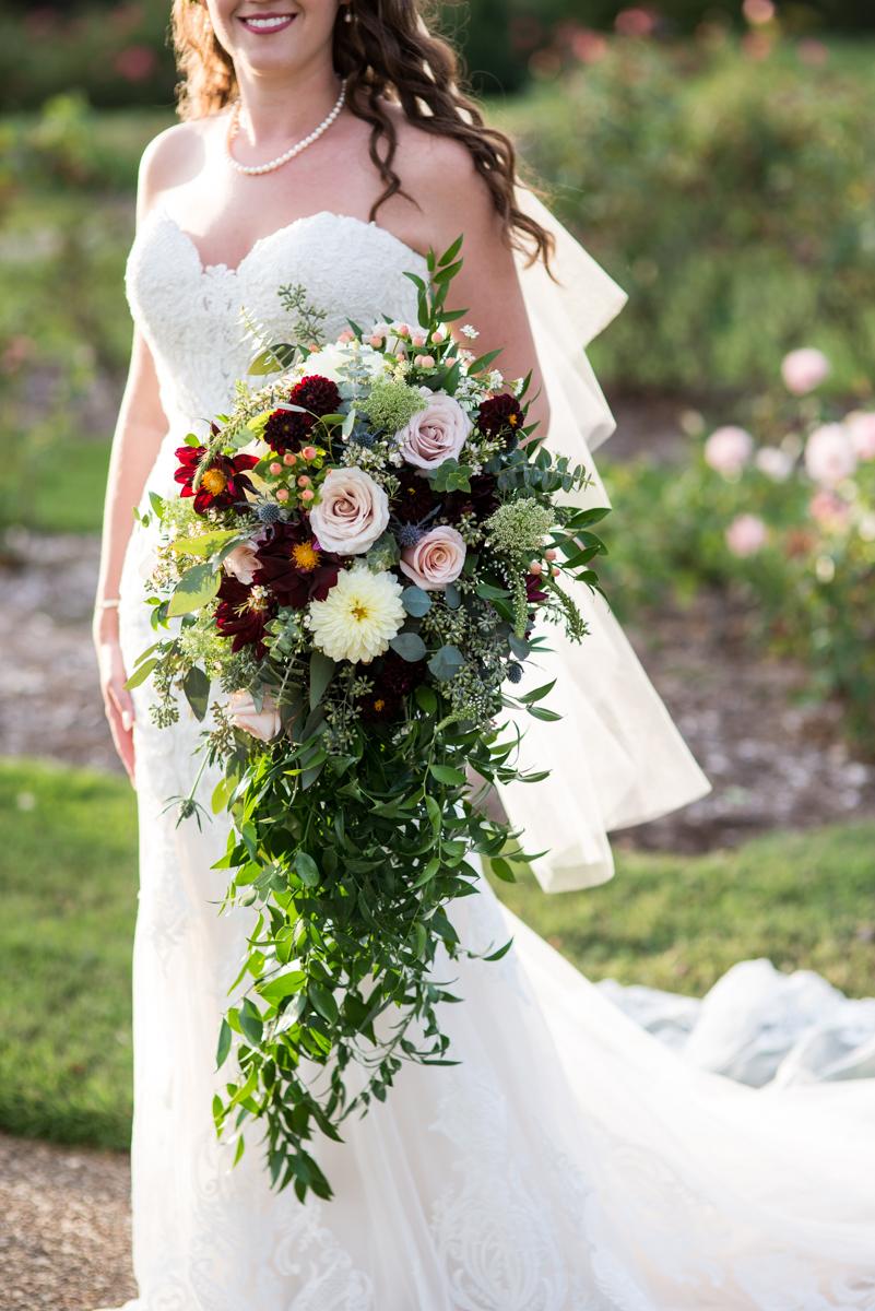 Cascading Burgundy and Blush Bouquet with Dahlias, Roses, Blue Thistle, Eucalyptus