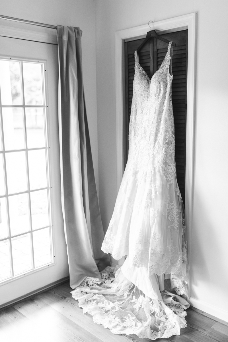 Gold, Blue, and Burgundy Fall Wedding | Cascading Lace Wedding Dress