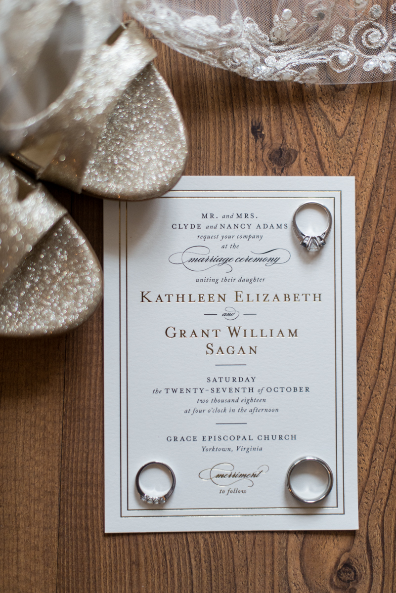 Gold, Blue, and Burgundy Fall Wedding | White and Gold Invitation Details
