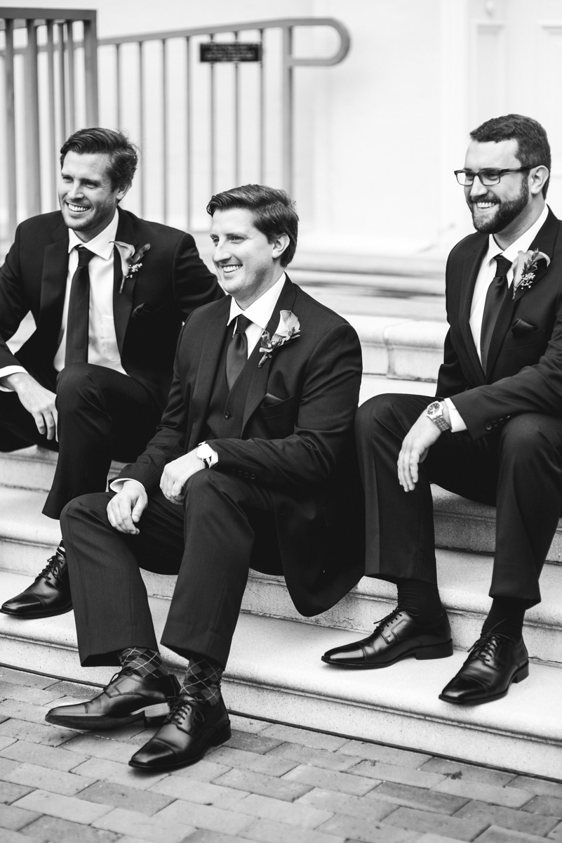 Gold, Blue, and Burgundy Fall Wedding | Groomsmen pictures