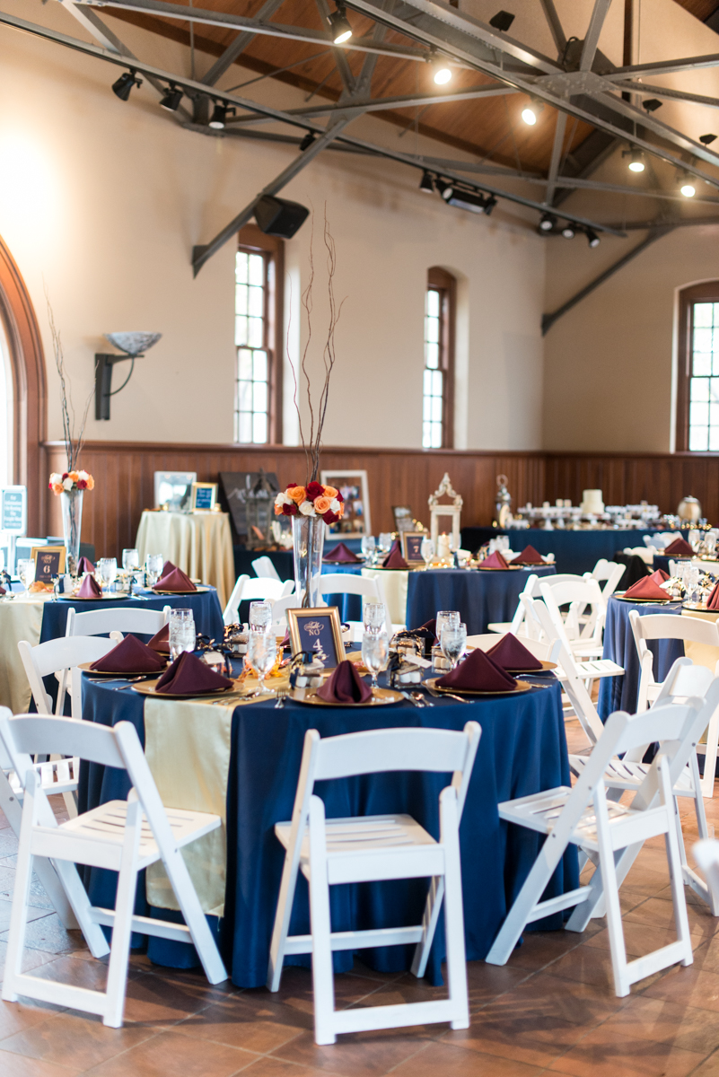 Gold, Blue, and Burgundy Fall Wedding | Blue, burgundy, and gold wedding reception