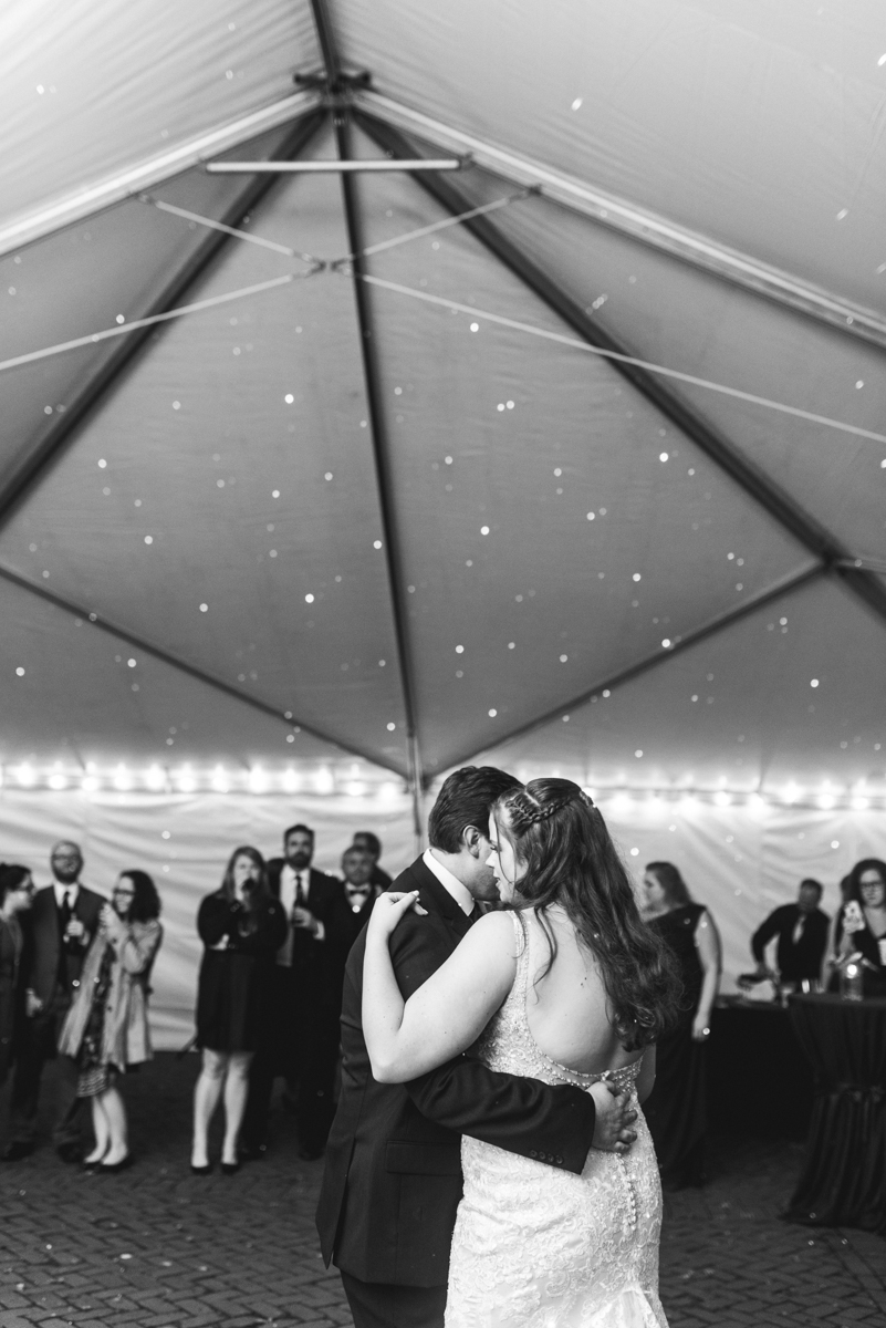 Gold, Blue, and Burgundy Fall Wedding | Bride and groom first dance