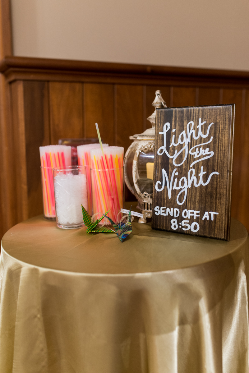 Gold, Blue, and Burgundy Fall Wedding | Wedding glow stick exit sign