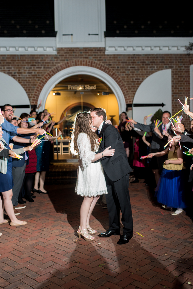 Gold, Blue, and Burgundy Fall Wedding | Wedding glow stick exit