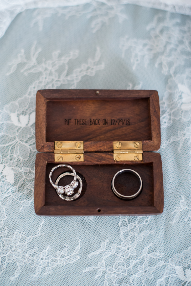 Burgundy and Pale Blue Winter Wedding | Cute wooden ring box