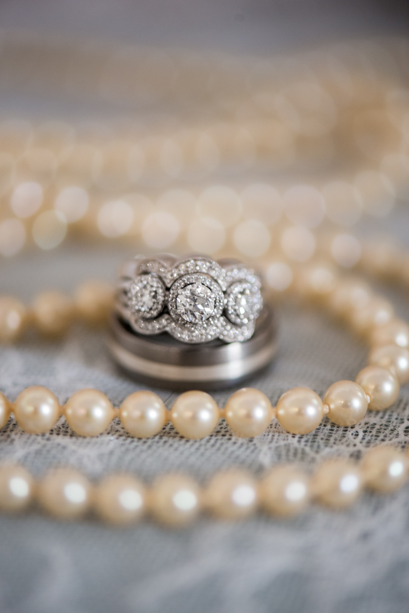 Burgundy and Pale Blue Winter Wedding | Vintage pearl ring shot