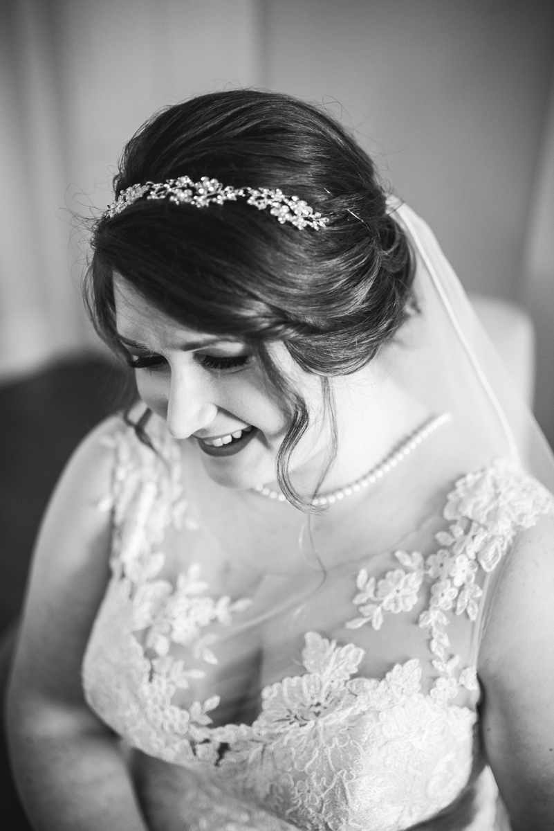 Burgundy and Pale Blue Winter Wedding | Bride getting ready