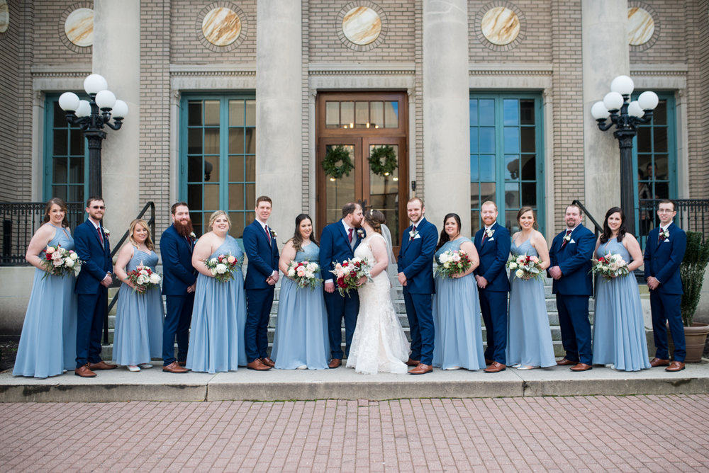 Burgundy and Pale Blue Winter Wedding | Navy + pale blue bridal party