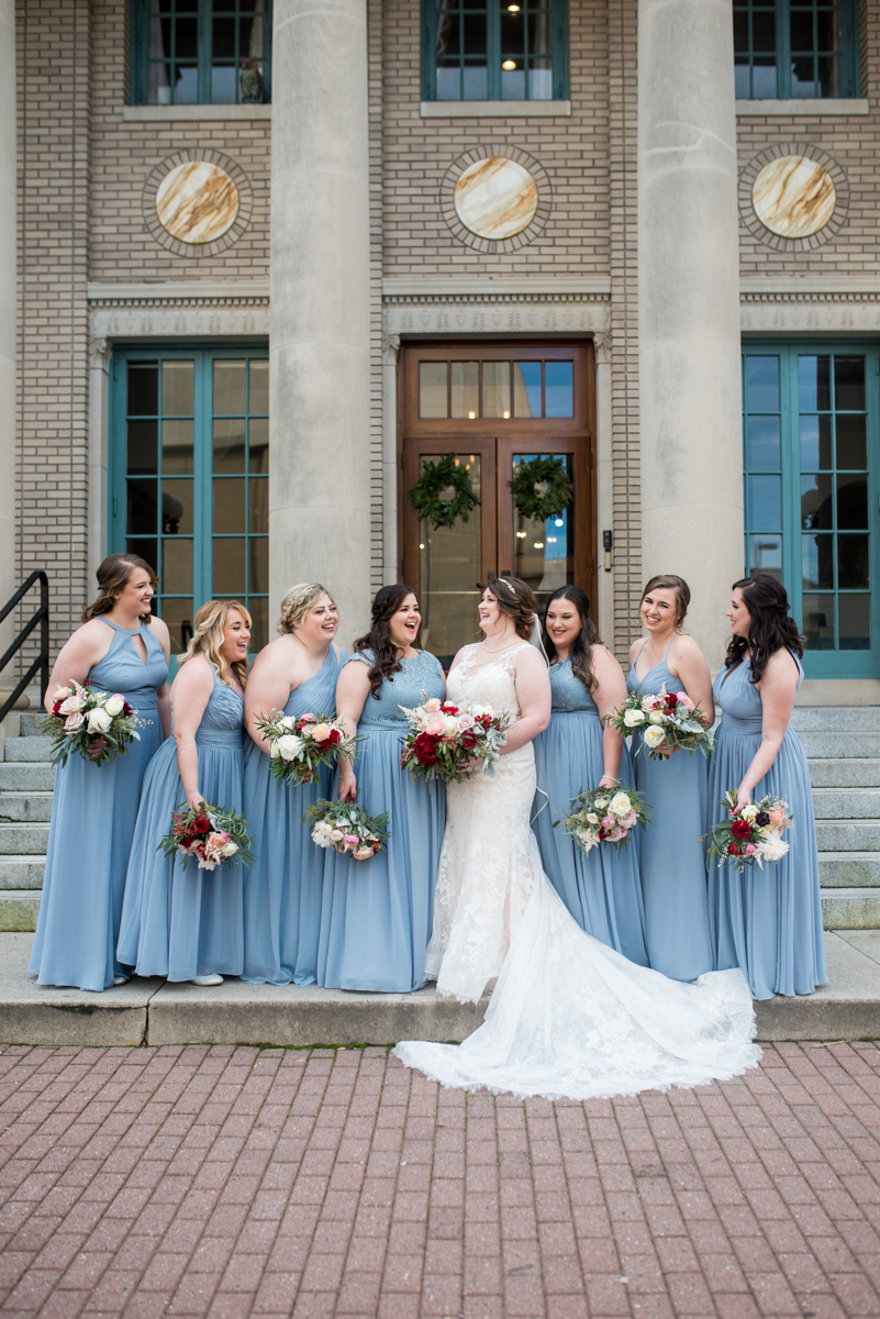 Burgundy and Pale Blue Winter Wedding | Pale blue winter bridesmaids