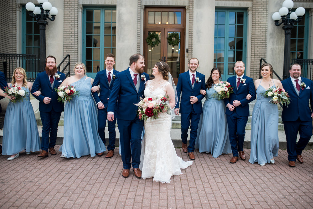 Burgundy and Pale Blue Winter Wedding | Dark and light blue bridal party
