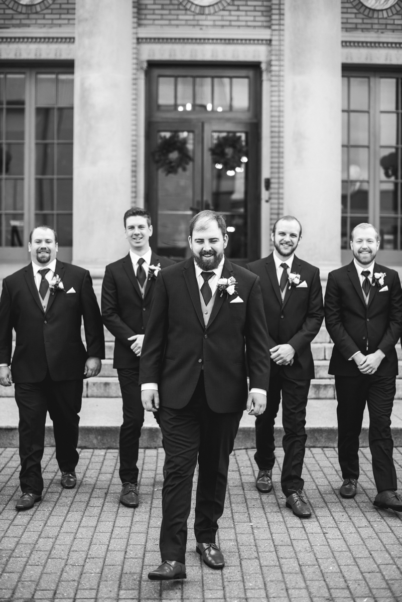 Burgundy and Pale Blue Winter Wedding | Black and white bridal party pictures