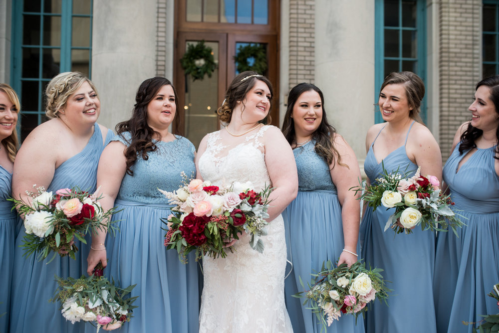 Burgundy and Pale Blue Winter Wedding | Pale blue bridesmaid dresses