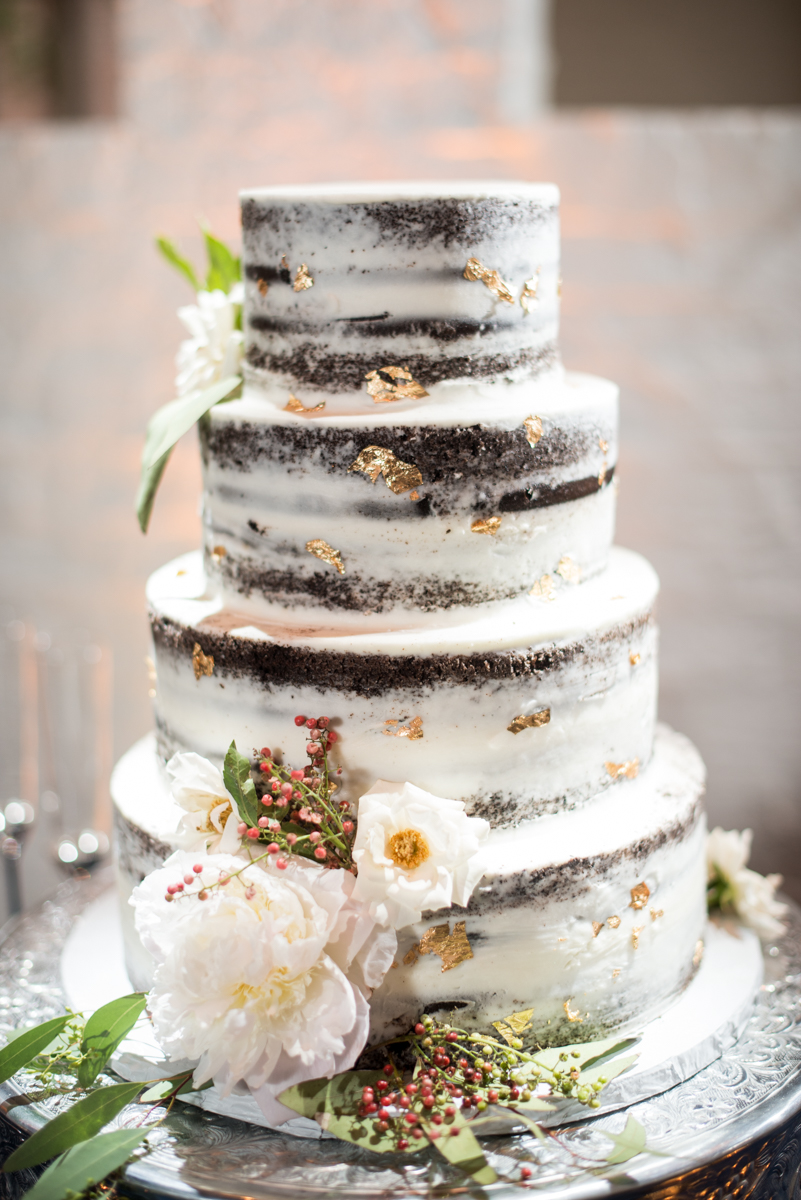 Burgundy and Pale Blue Winter Wedding | Naked wedding cake with gold foil
