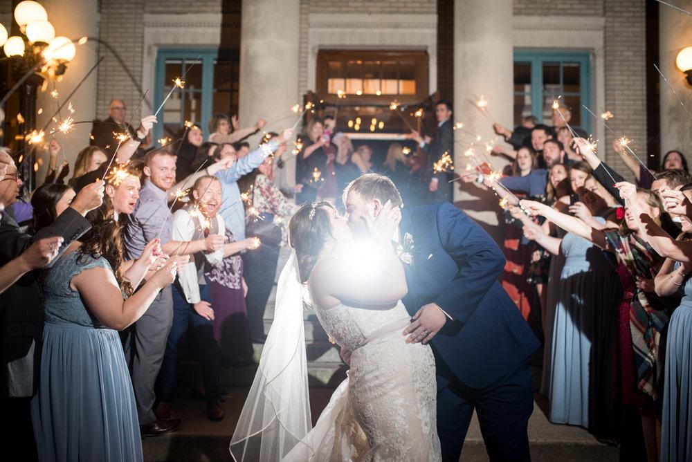 Burgundy and Pale Blue Winter Wedding |Wedding sparkler exit