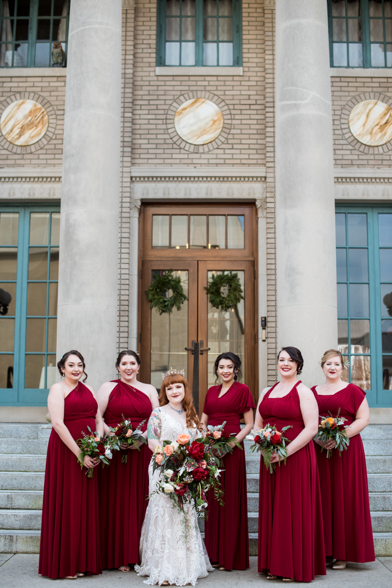 Lush Winter Wedding with Red and Gray | Cranberry Red Bridesmaid Dresses