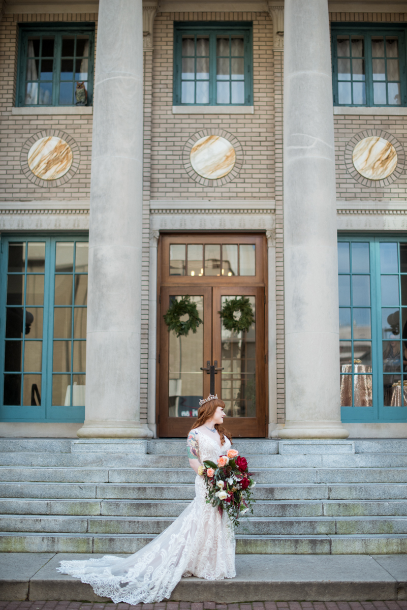 Lush Winter Wedding with Red and Gray | Elegant Bridal Portrait