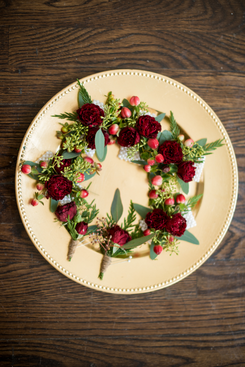 Lush Winter Wedding with Red and Gray | Red Carnation Winter Boutonnieres