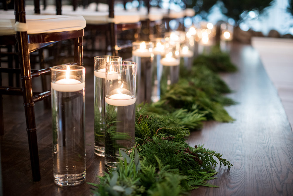 Lush Winter Wedding with Red and Gray | Winter Wedding Ceremony with Evergreen