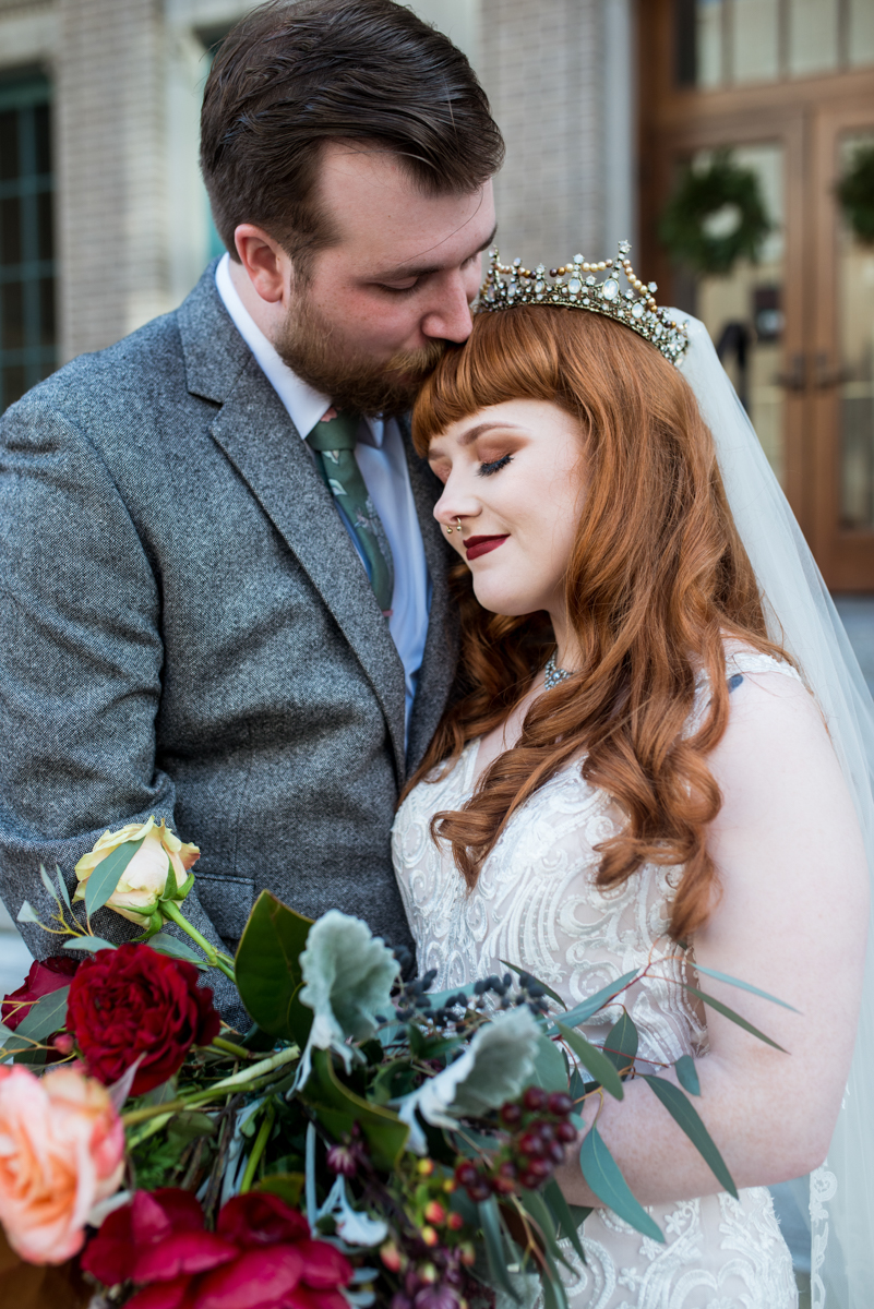 Lush Winter Wedding with Red and Gray | Bride and Groom Portraits