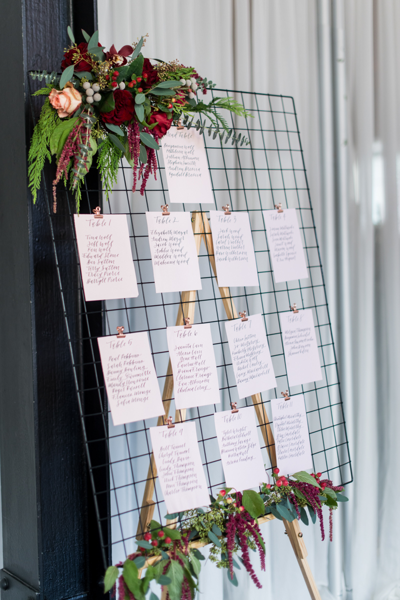Vintage Winter Wedding with Red and Gray | Vintage Blush and Cranberry Seating Chart