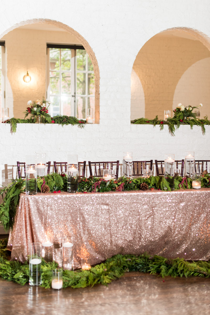Vintage Winter Wedding with Red and Gray | Rose Gold Sequin Tablecloth