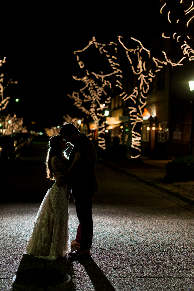 Vintage Winter Wedding with Red and Gray | Bride and Groom Night Portrait