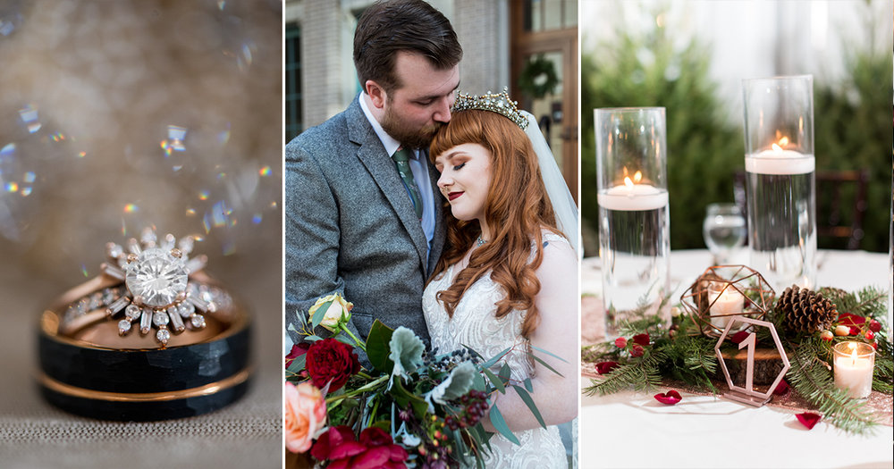 Vintage Winter Wedding with Red and Gray