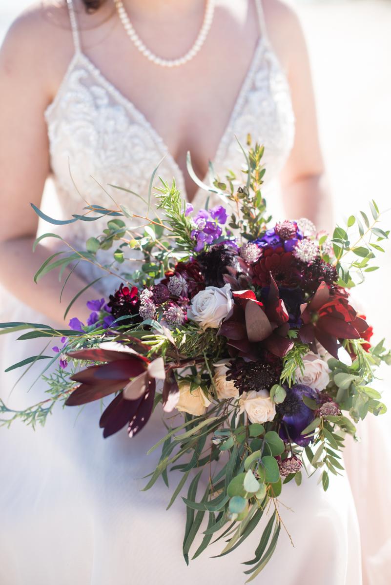 Windswept Beach Elopement | Wildflower Bridal Bouquet