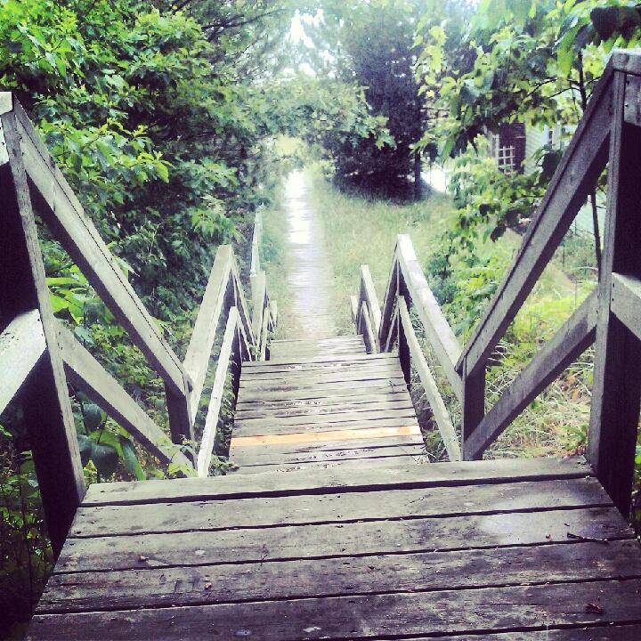 Steps to Lake Michigan.