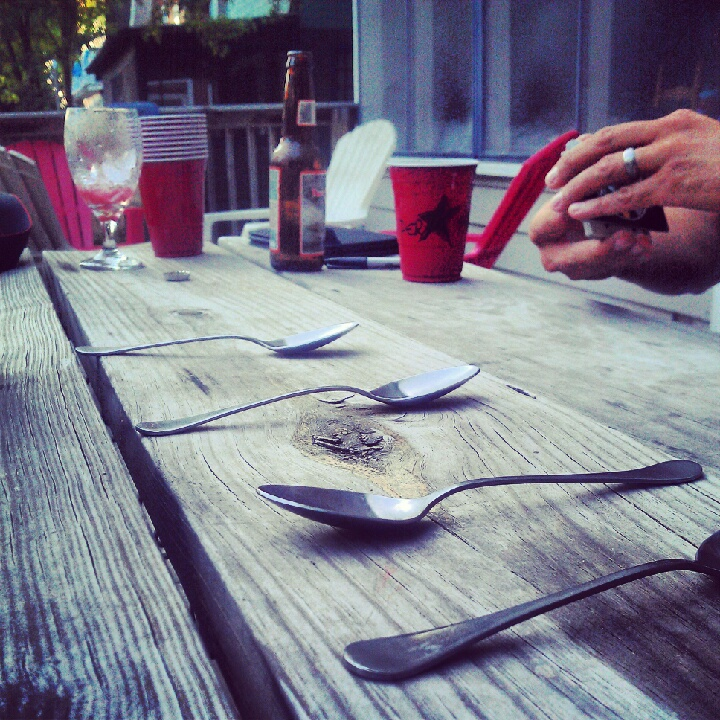 4th of July spoons on the porch.