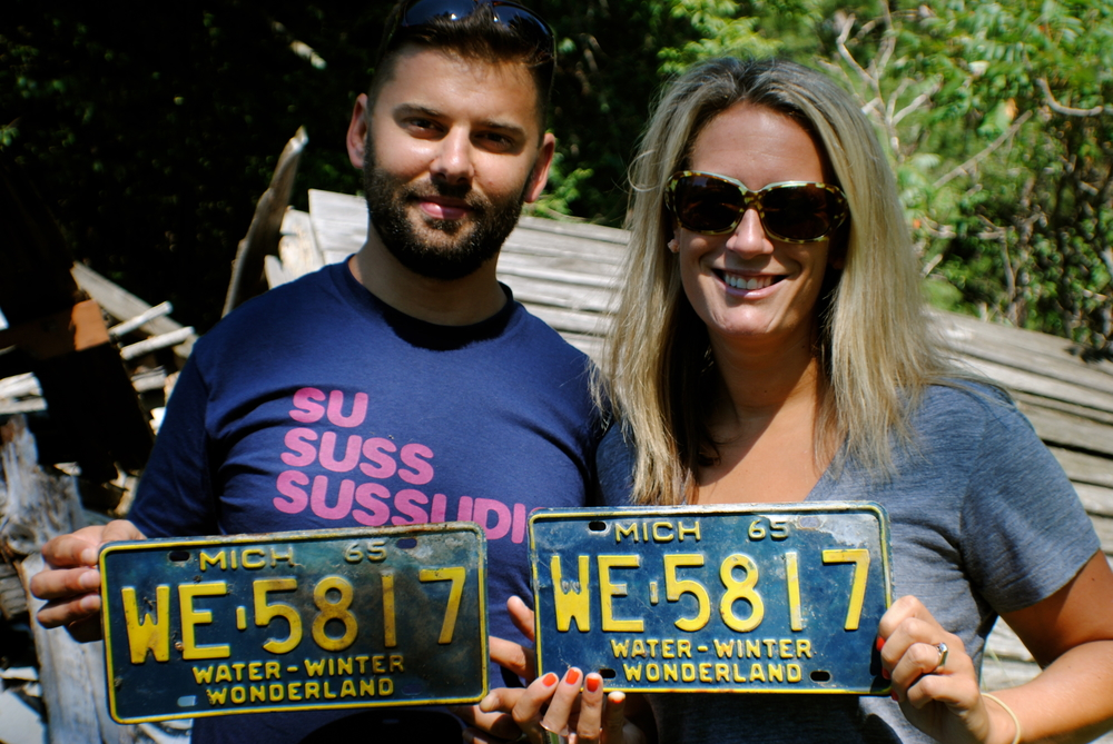Old license plates found in the completely broken barn at the edge of the property.