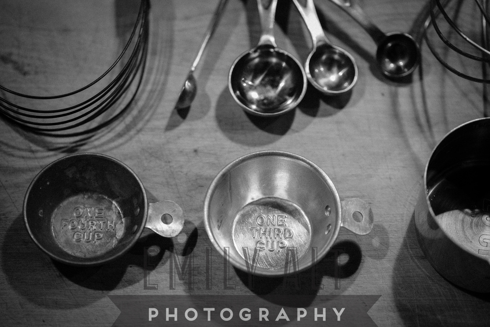 With the exception of the measuring spoons, all these cooking utensils were thrifted from the Rosemont Flea Market about 8 years ago when Ian and I first moved to Chicago. The whisk, measuring cups (8 total), flour sifter and egg beater (not pictured) were $4 total.