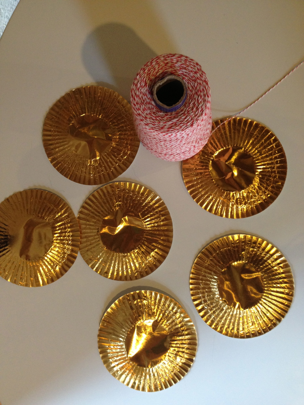 Gold cupcake wrappers folded in half add some nice sparkle.