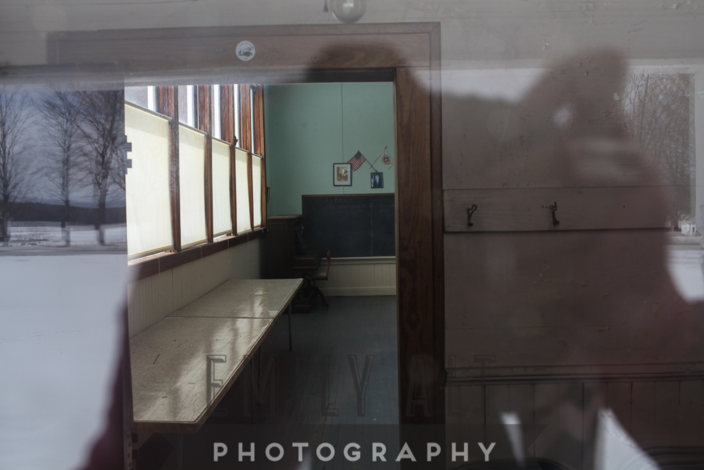 Jumping while holding camera over head = interior shot of schoolhouse.
