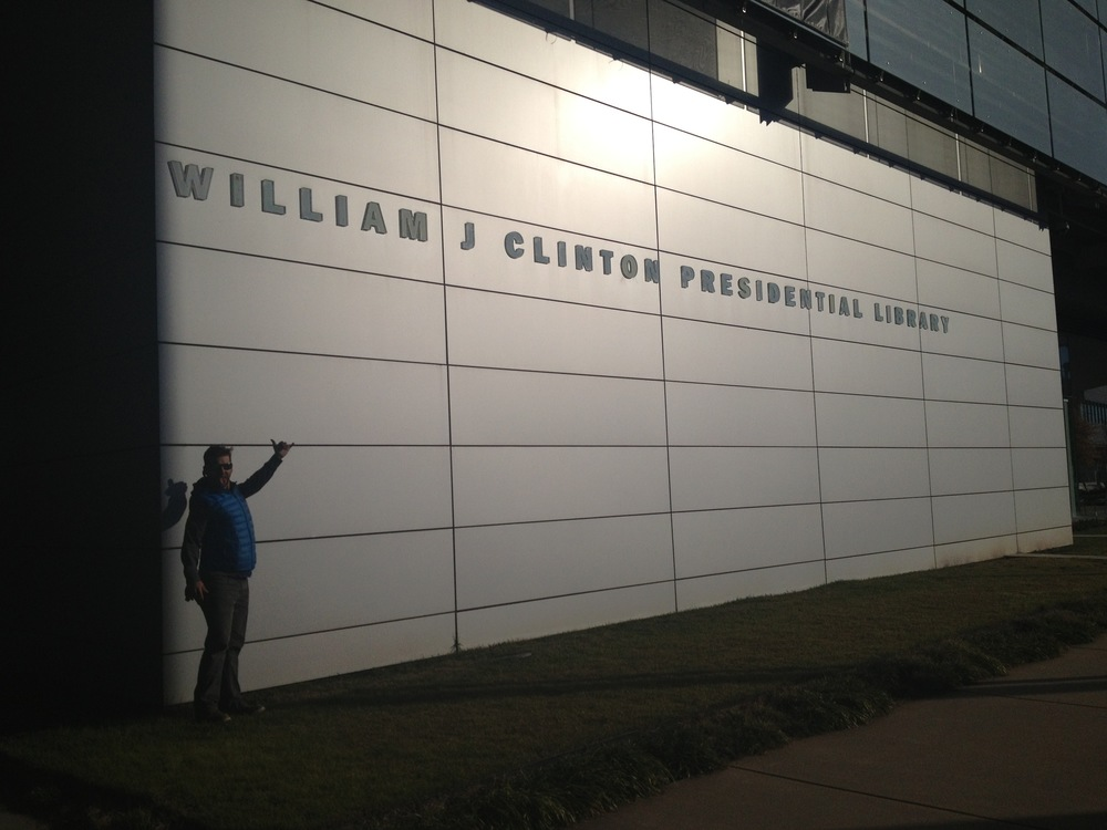 Ian in front of the Clinton Library and Museum in Little Rock, AR.