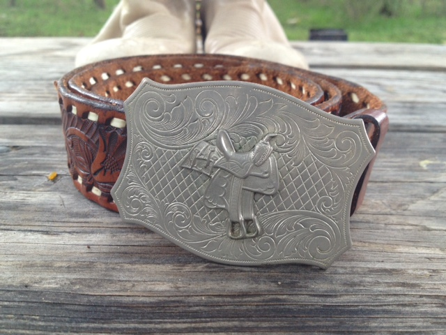 Thrifted leather belt and buckle from a Goodwill in Austin, Texas.