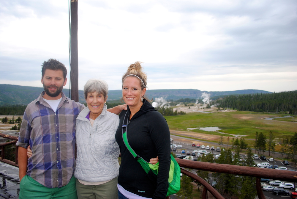 Ian, my mom and myself on top of Old Faithful Inn in Yellowstone National Park.