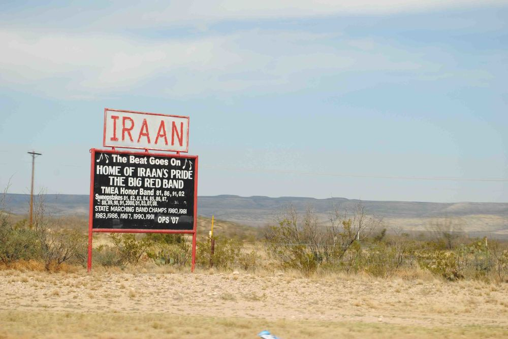 Iraan--the tiny town where we stopped to get gas after almost running out on 1-10 across Texas.