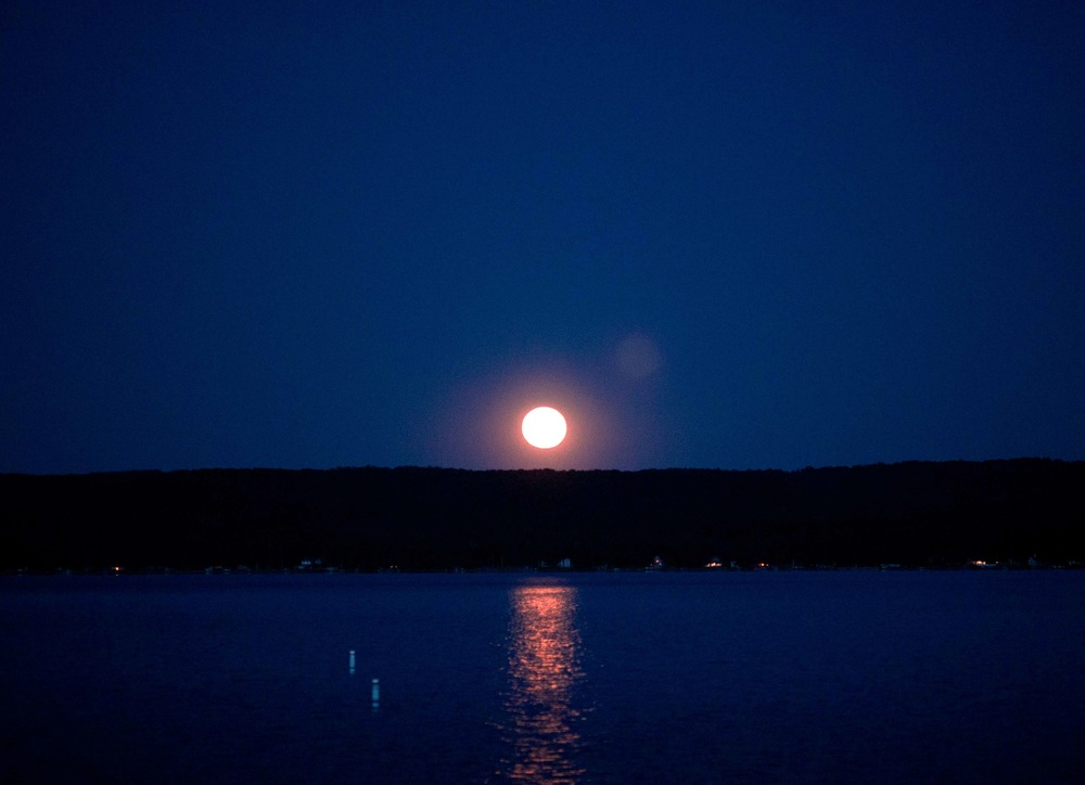 Full moon over Glen Lake on June 13, 2014, on the way home from the Pop Up wedding in Northport.