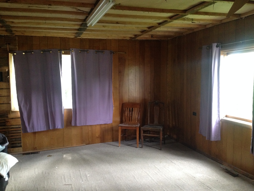 This is the living room prior to gutting--the curtains, carpet and couch were a thoughtful leftover from the previous owner (sarcasm). You can see that the wood paneling on the left is starting to be torn away and obviously 1 of the 3 (!!!) drop ceilings has been removed.