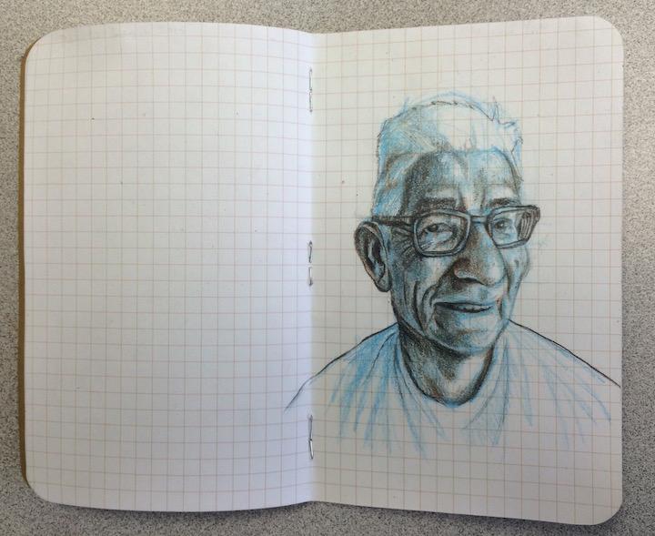 stole a pic of my dad in his pj's and drew him on the plane back to Georgia....(graphite, colored pencil on paper, 7 x 5.5 inches, Dec. 2015)